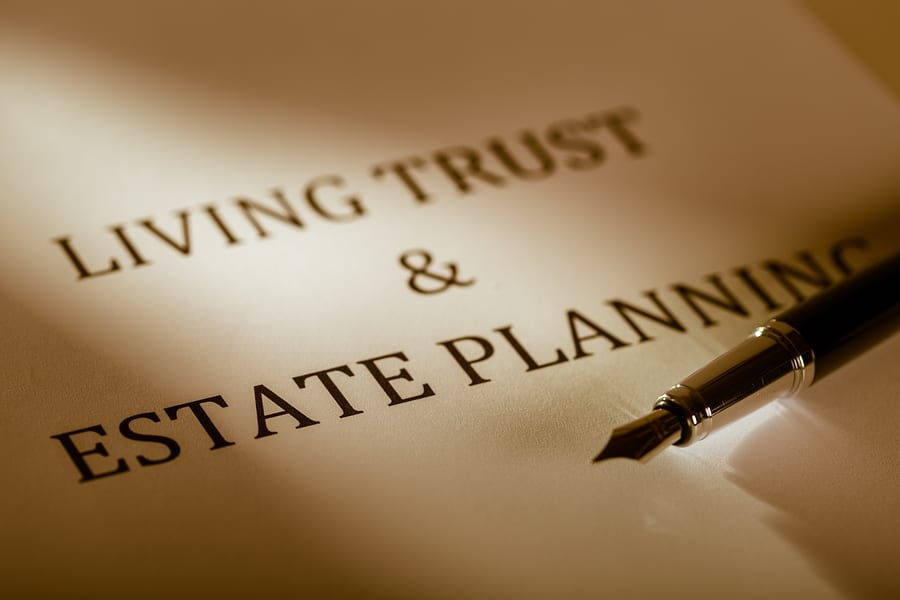 """Los Angeles trusts attorney - Fountain Pen Lying on the """"Living Trust and Estate Planning"""" - Close Up"""